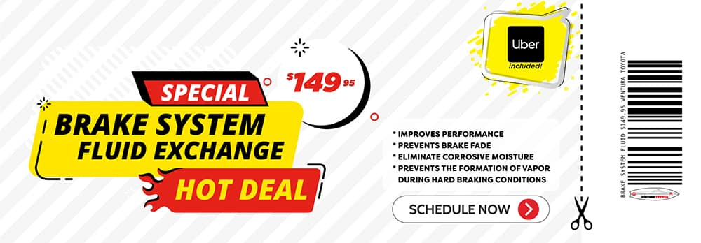 brake system fluid exchange service special at Ventura Toyota dealership