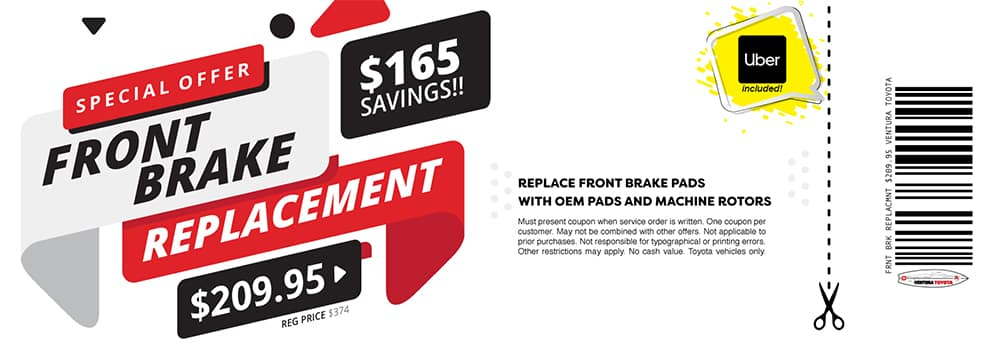 front brake replacement service special at Ventura Toyota dealership