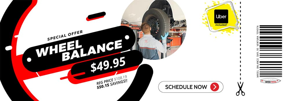 wheel balance service special at Ventura Toyota dealership