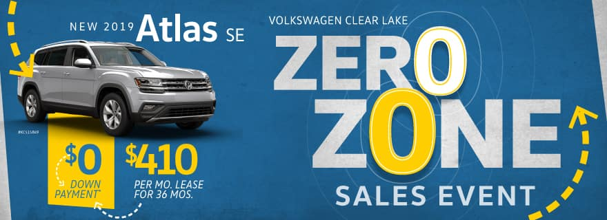 Pay Zero down on any new 2019 Atlas SE at Volkswagen Clear Lake