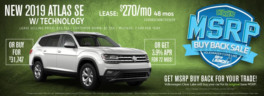 Get MSRP Buy Back for your trade when you upgrade to a new Atlas!