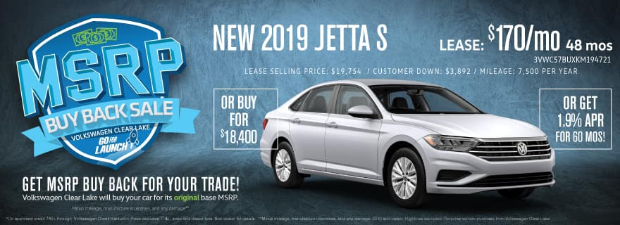 Get MSRP Buy Back for your trade when you upgrade to a new Jetta!