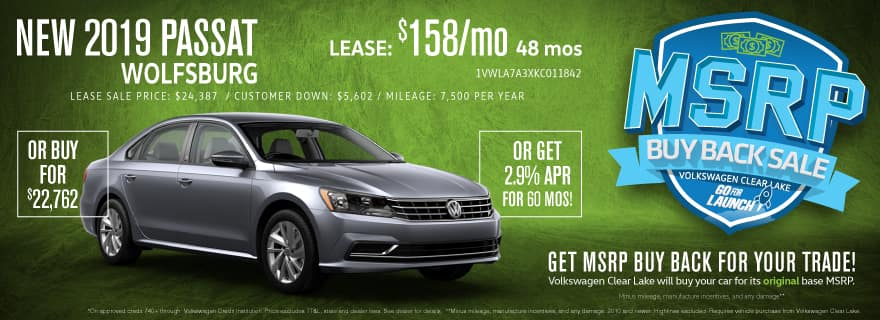 Get MSRP Buy Back for your trade when you upgrade to a new Passat!