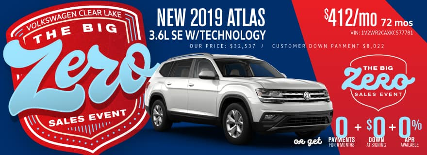 Don't miss Volkswagen Clear Lake's Big Zero Sales Event on Atlas!