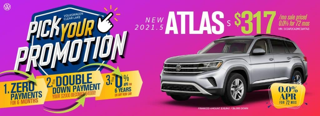 Pick your promotion at Volkswagen Clear Lake on this Atlas SUV.