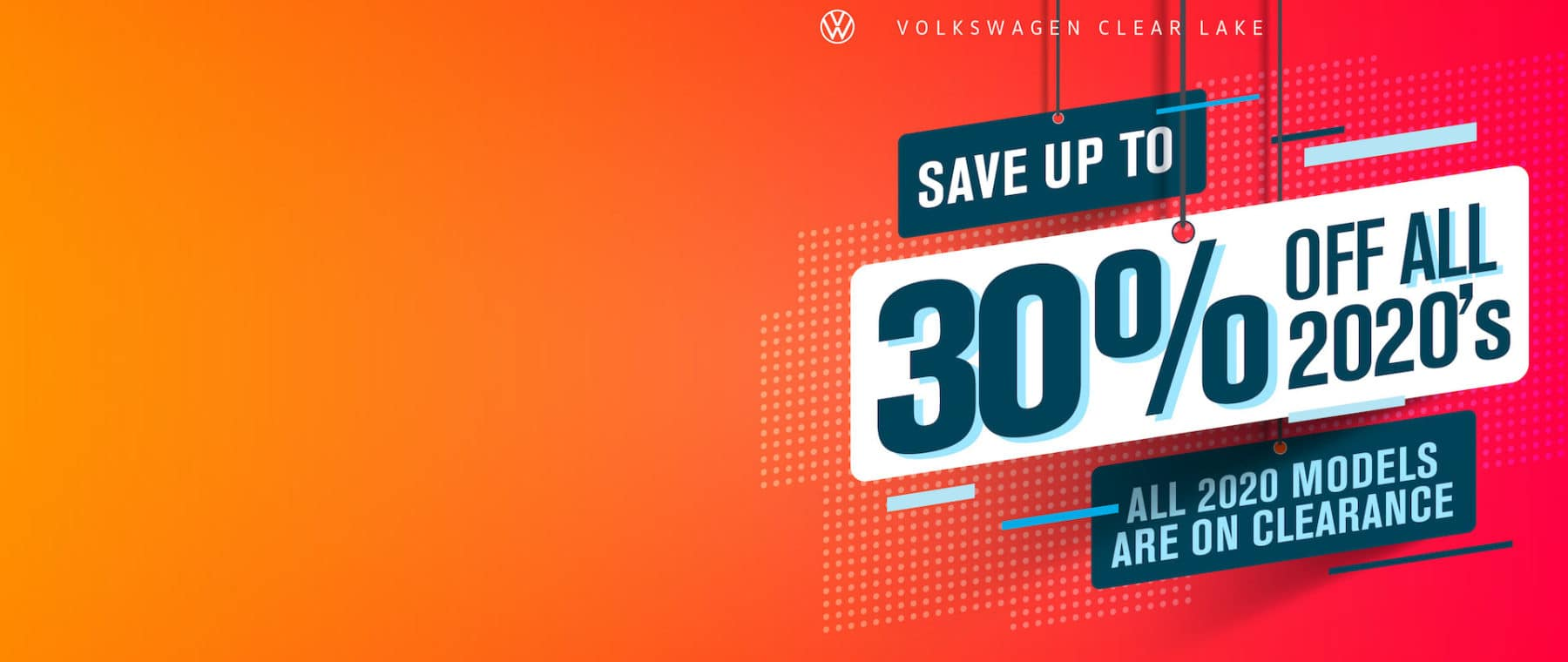 Save up to 30% off remaining 2020's at VW Clear Lake!