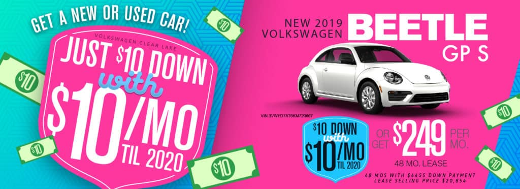 Get the incredible Beetle for only $10/mo at Volkswagen Clear Lake!