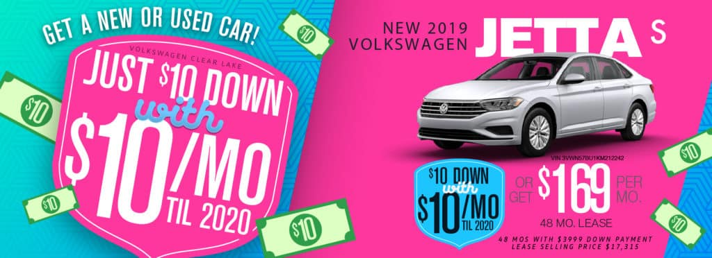 Get a Jetta for only $10 a month at Volkswagen Clear Lake!