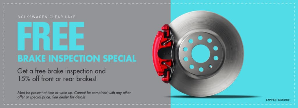 Get a free brake inspection at VW Clear Lake