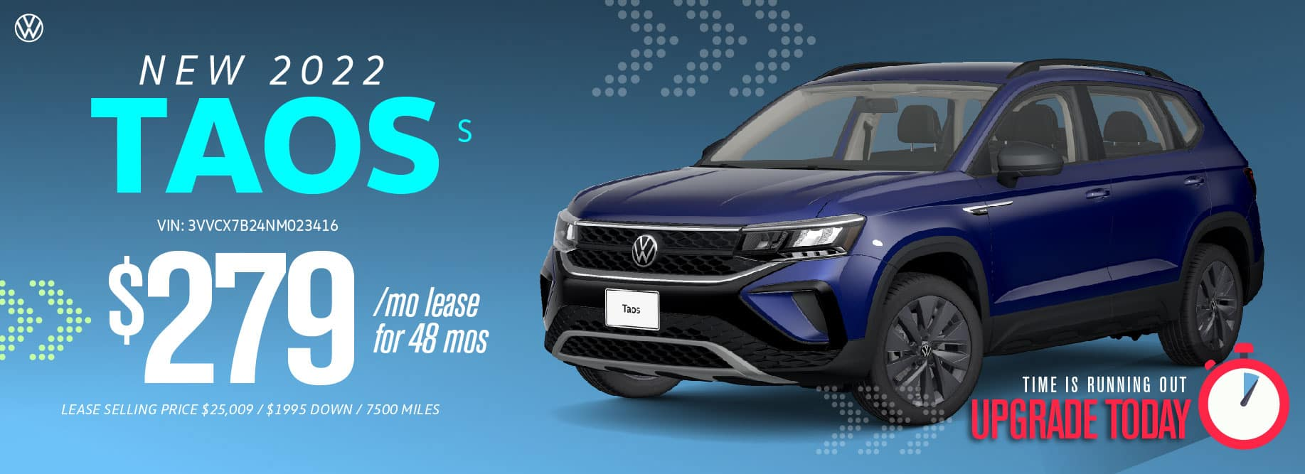 Lease the 2022 Taos from $279 a month at Volkswagen Clear Lake