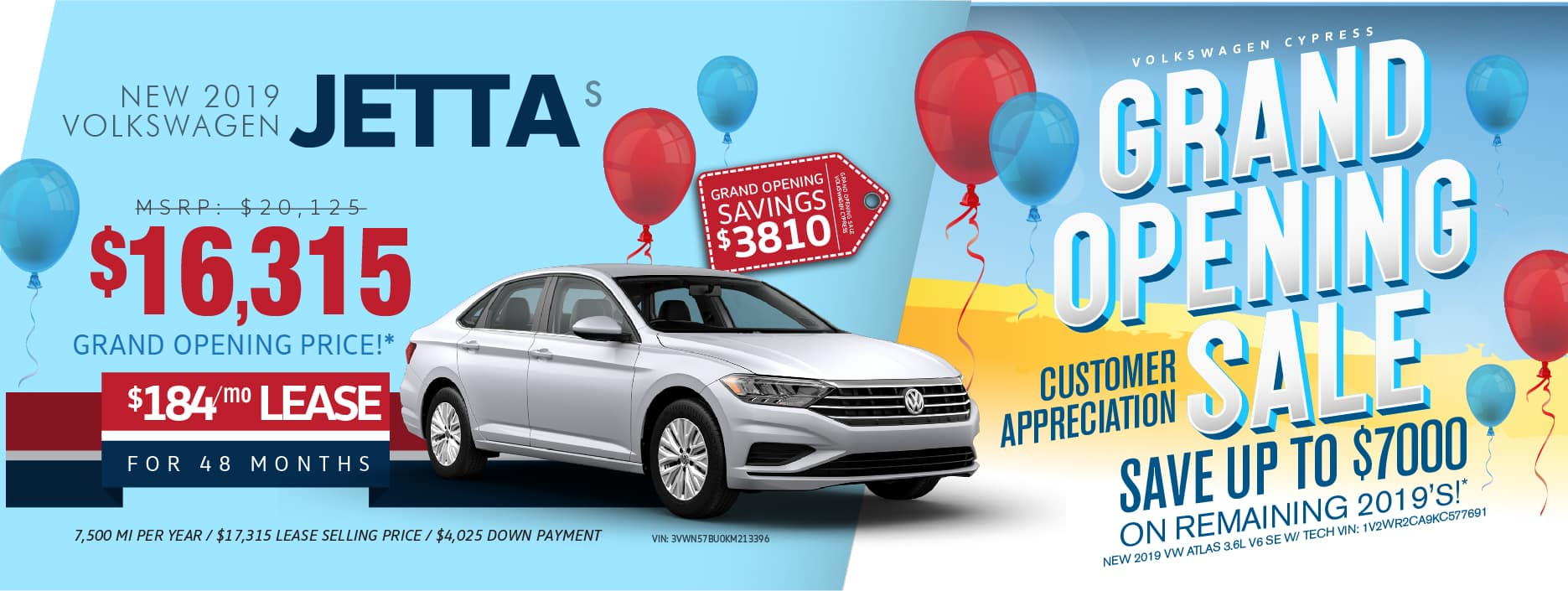 Don't miss our Grand Opening Sale at Volkswagen Cypress