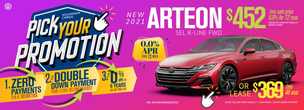 Pick your promotion at Volkswagen Cypress on this Arteon.