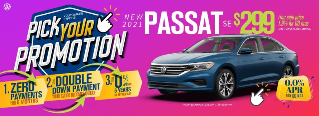 Pick your promotion at Volkswagen Cypress on this Passat.