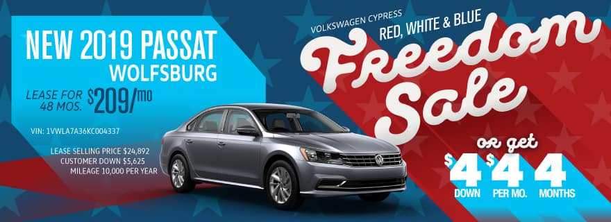Get the Passat for $4 down and $4/mo at Volkswagen Cypress