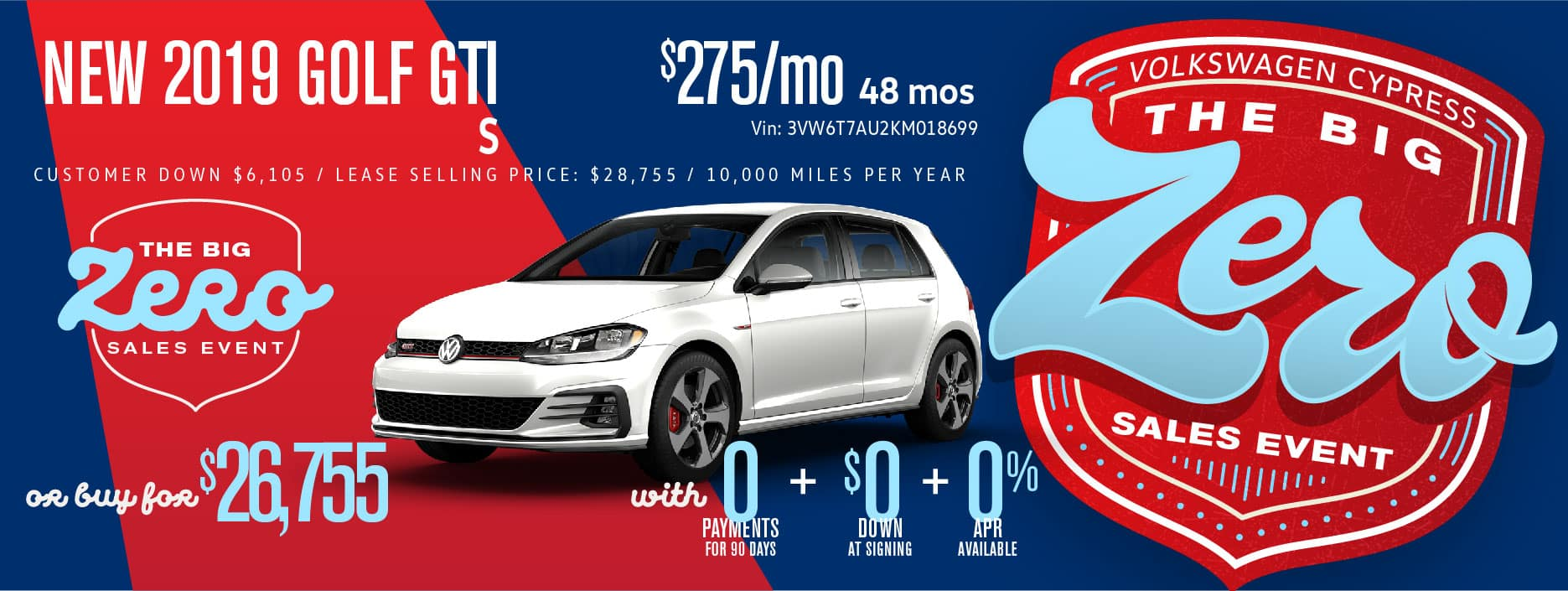 Get the Golf GTI for Zero Down