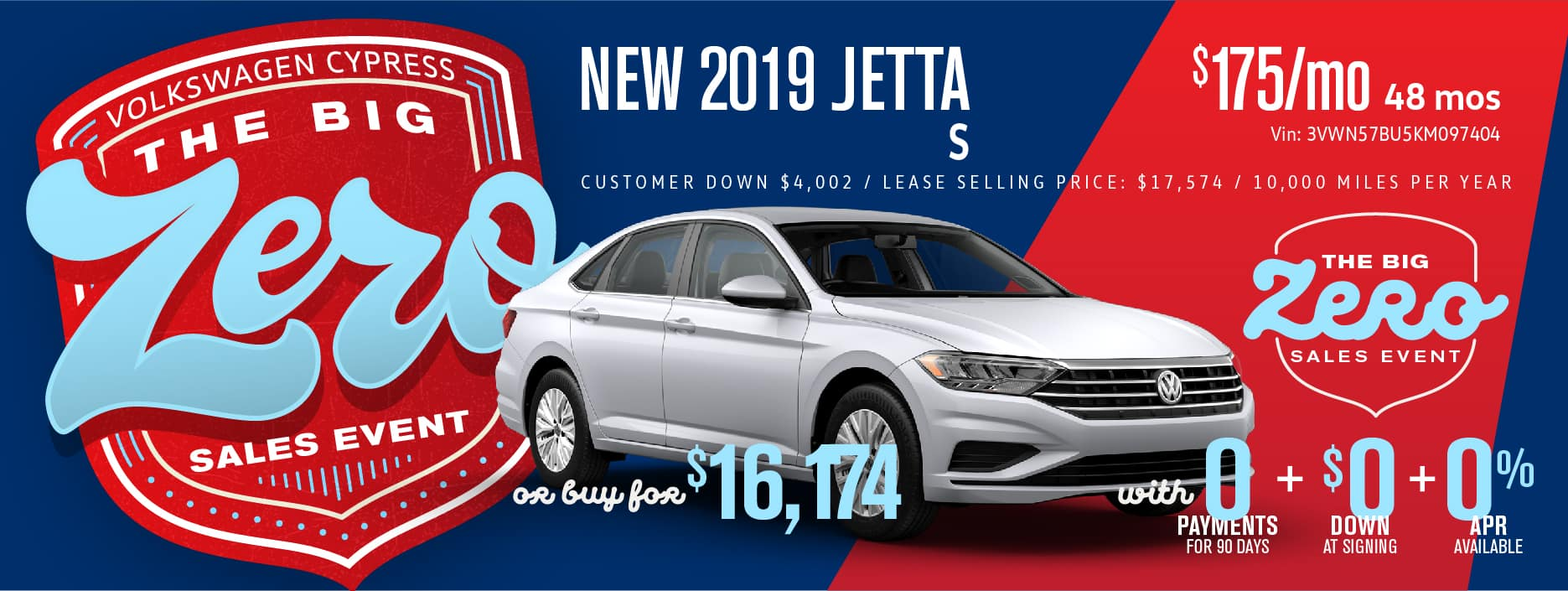 Get the Jetta for Zero Down and 0 payments 90 days!