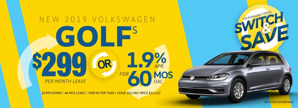 Switch to a new Golf and Save at Volkswagen Cypress!