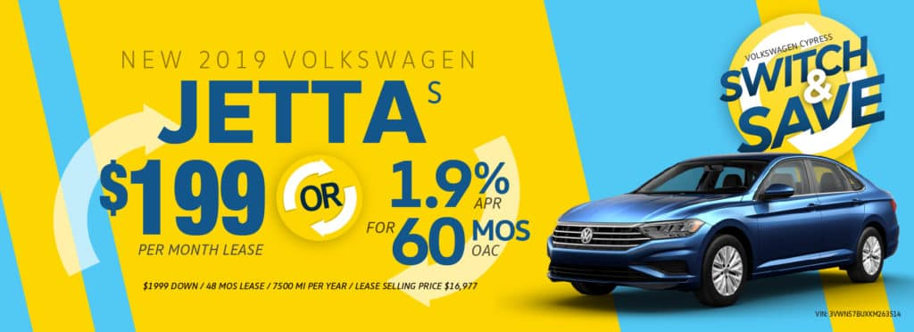 Switch to a new Jetta and Save at Volkswagen Cypress!