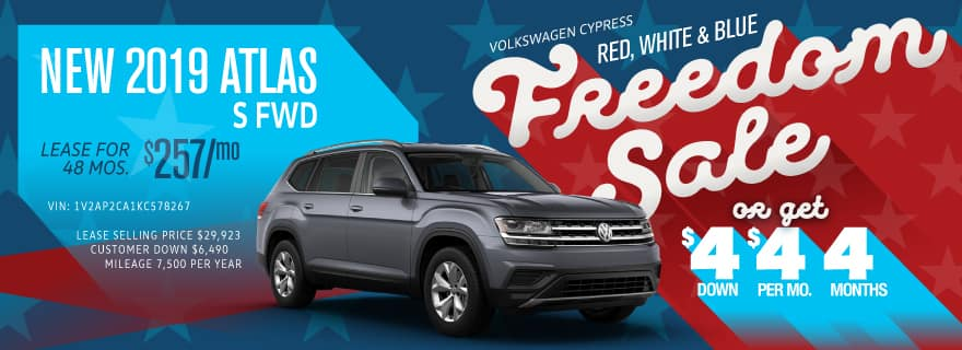 Get the Atlas for $4 down and $4/mo at Volkswagen Cypress