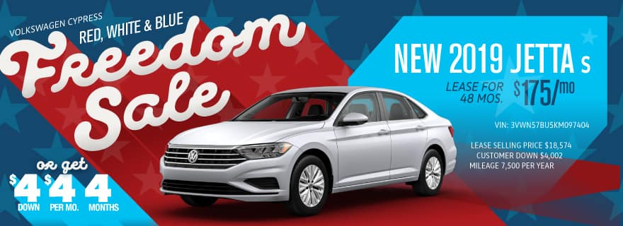 Get the Jetta for $4 down and $4/mo at Volkswagen Cypress