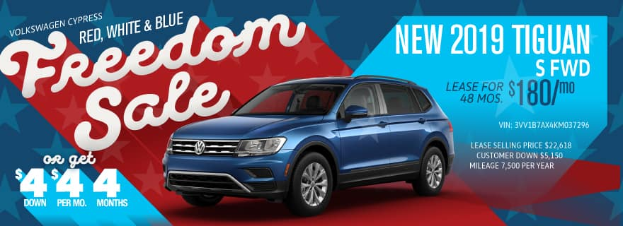 Get the Tiguan for $4 down and $4/mo at Volkswagen Cypress