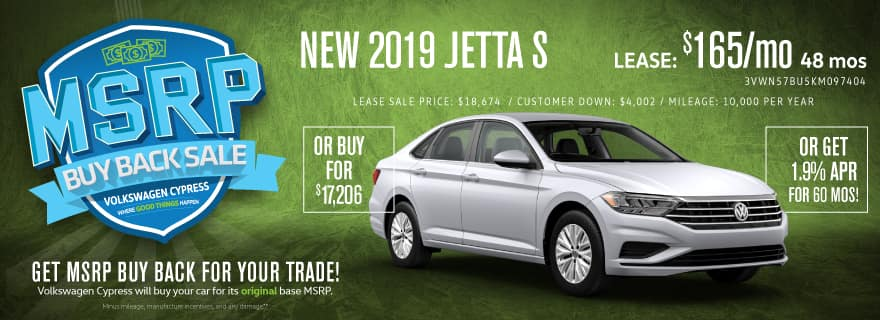 Upgrade to a new Jetta and save BIG at Volkswagen Cypress!