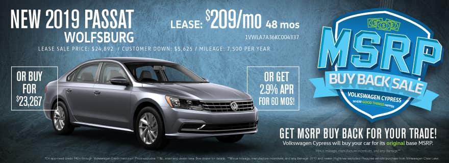 Upgrade to a new Passat and save BIG at VW Cypress!