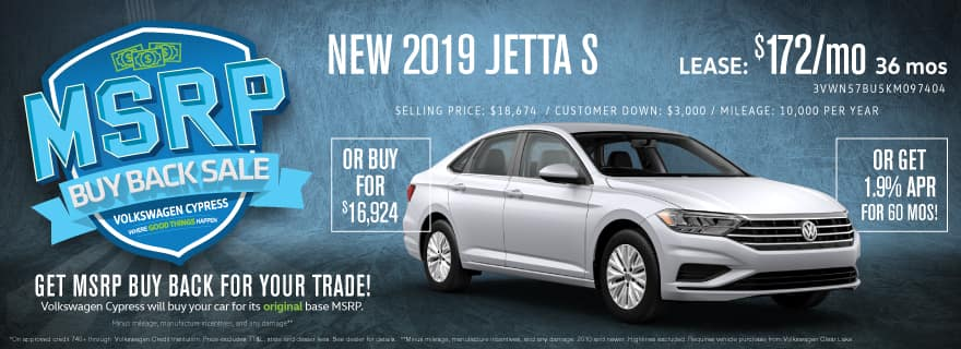 Lease a brand new Jetta for less than $200 a month!