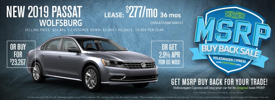 Save on the 2019 Passat at Volkswagen Cypress