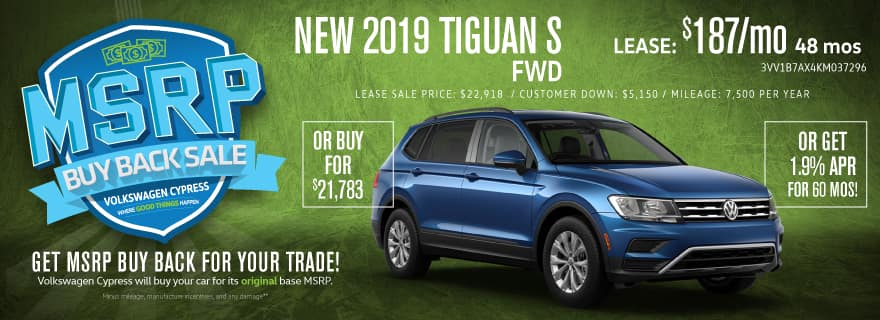 Get HUGE Deals on 2019 Tiguan SUV's!