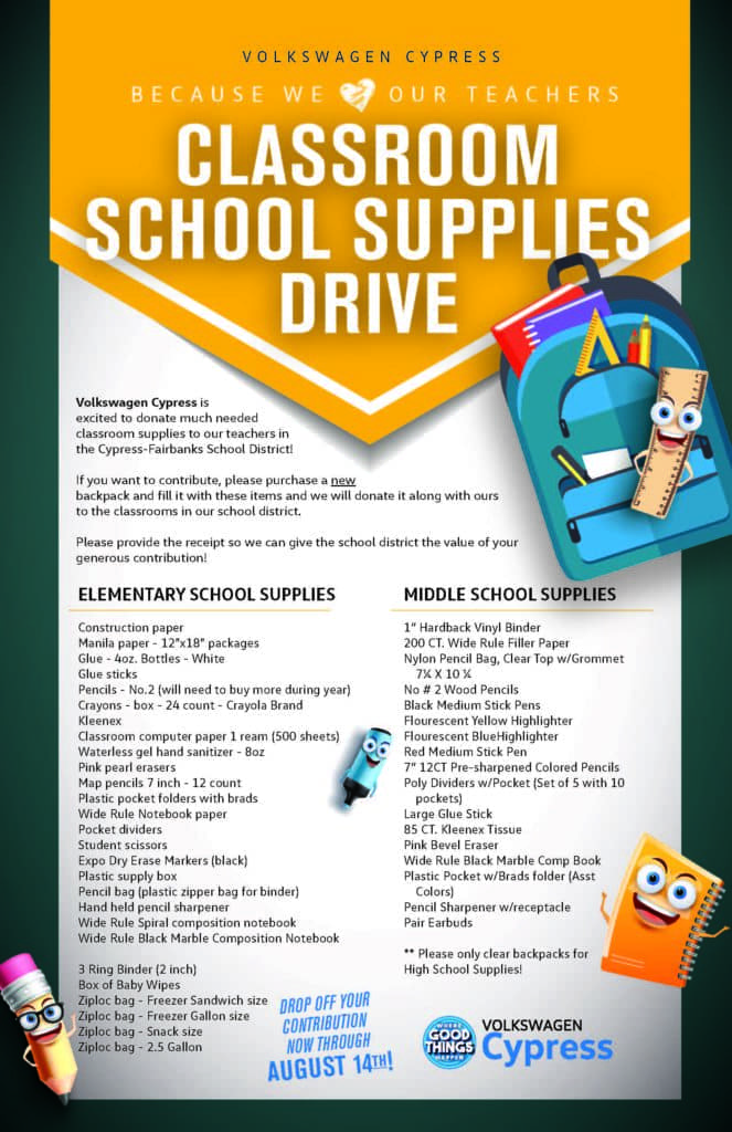 Classroom School Supplies Drive