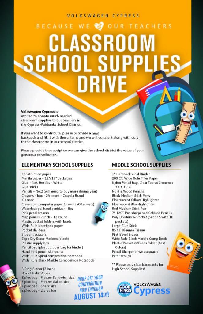 Classroom School Supplies Drive