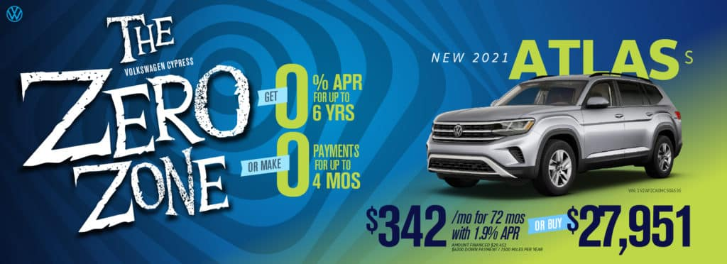 Get as low as 0% for 6 years OR zero payments for 4 months at VW Cypress!