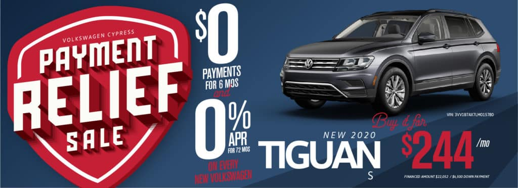 Payment Relief Sale at VW Cypress! 0 Payments for 6 mos and 0% APR for 6 years!