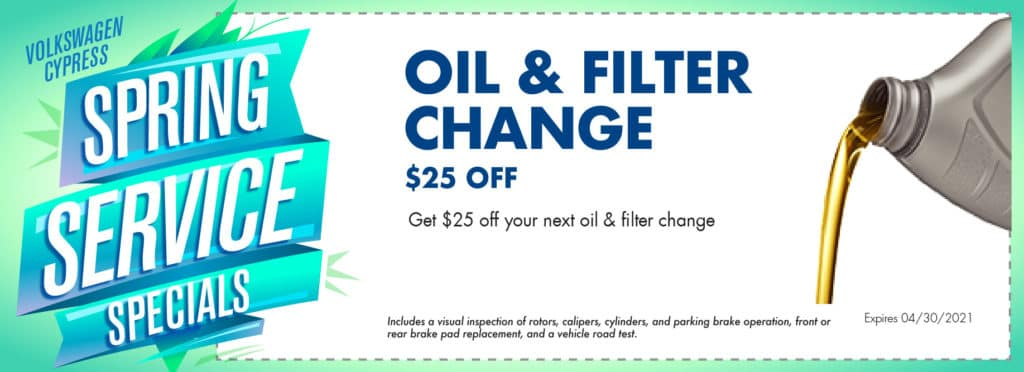 Come get an oil change at Volkswagen Cypress.
