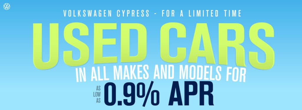 We sell used cars at Volkswagen Cypress. Don't miss out on your dream car.