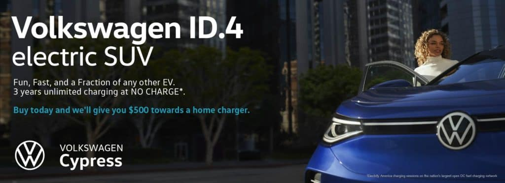 Get a $500 home charger with every purchase of a VW ID.4 electric vehicle at VW Cypress